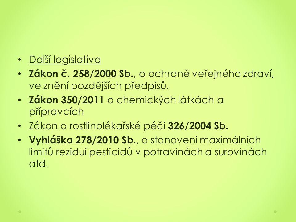 Další legislativa Zákon č. 258/2000 Sb., o ochraně veřejného zdraví, ve znění pozdějších předpisů.