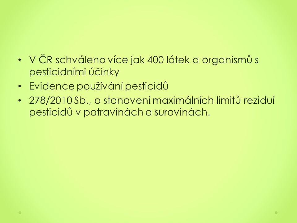 V ČR schváleno více jak 400 látek a organismů s pesticidními účinky Evidence používání pesticidů 278/2010 Sb., o stanovení maximálních limitů reziduí pesticidů v potravinách a surovinách.