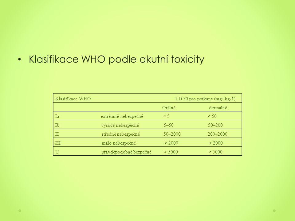 Klasifikace WHO podle akutní toxicity Klasifikace WHO LD 50 pro potkany (mg/ kg-1) Orálně dermálně Ia extrémně nebezpečné < 5 < 50 Ib vysoce nebezpečné 5–50 50–200 II středně nebezpečné 50–2000 200–2000 III málo nebezpečné > 2000 > 2000 U pravděpodobně bezpečné > 5000 > 5000