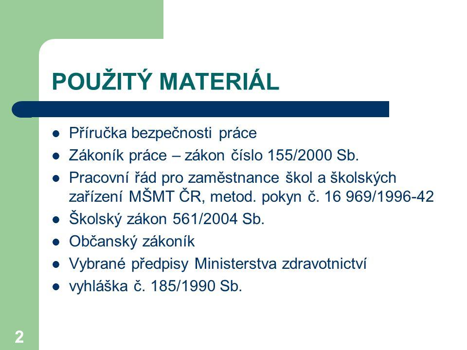 2 POUŽITÝ MATERIÁL Příručka bezpečnosti práce Zákoník práce – zákon číslo 155/2000 Sb.