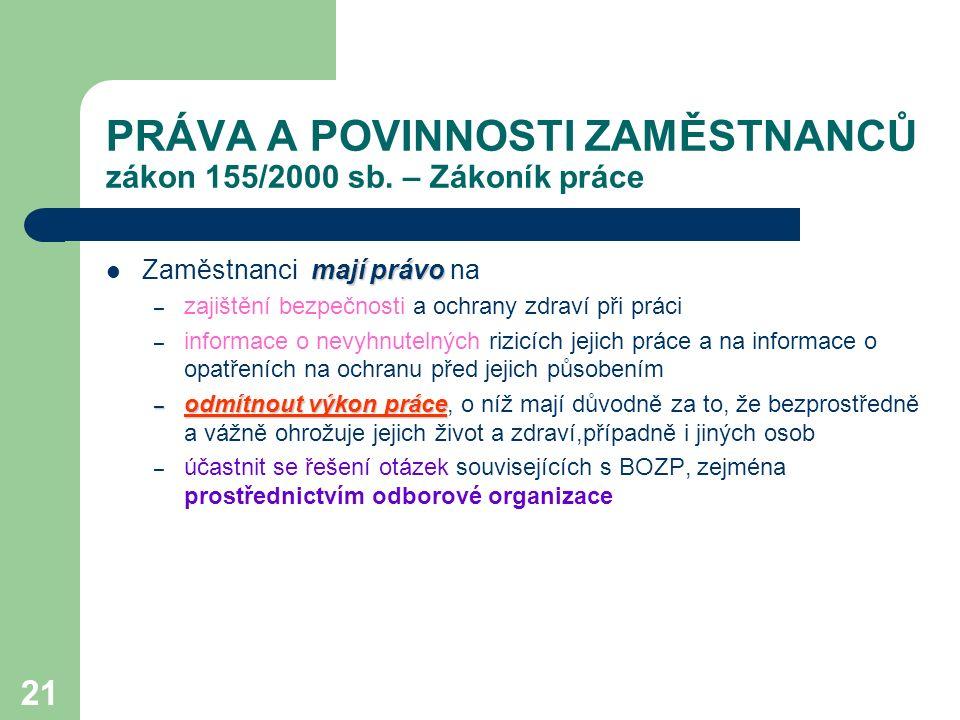 21 PRÁVA A POVINNOSTI ZAMĚSTNANCŮ zákon 155/2000 sb.