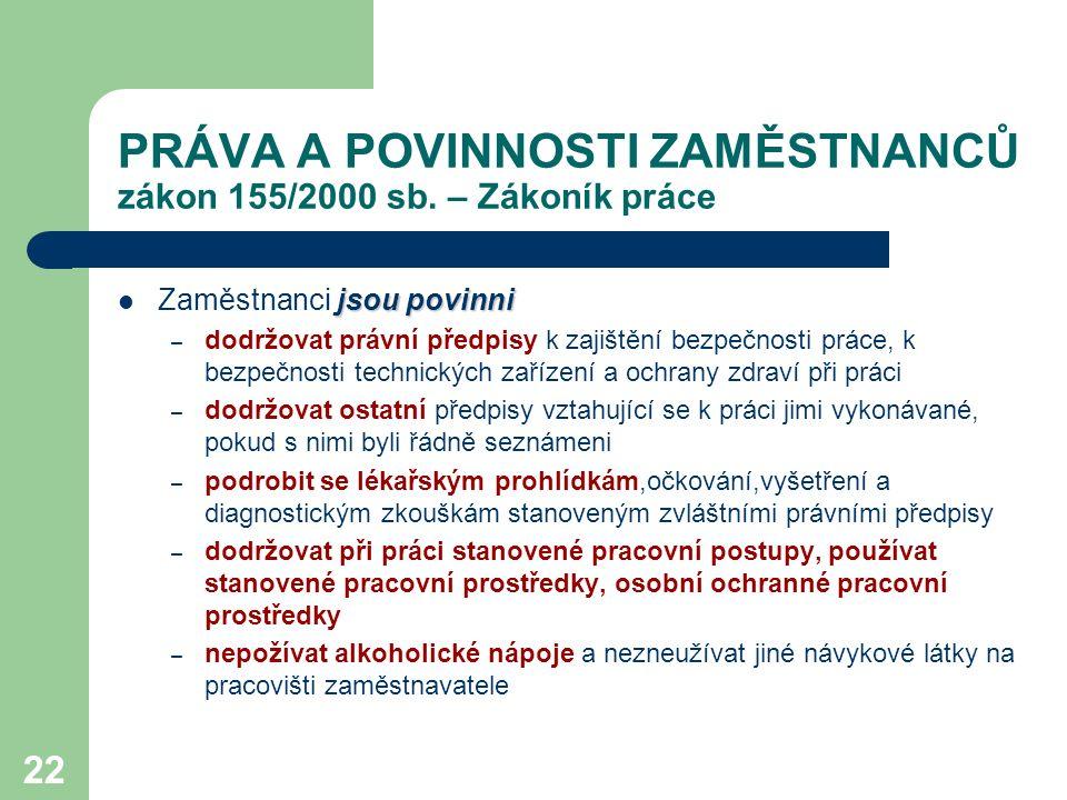22 PRÁVA A POVINNOSTI ZAMĚSTNANCŮ zákon 155/2000 sb.