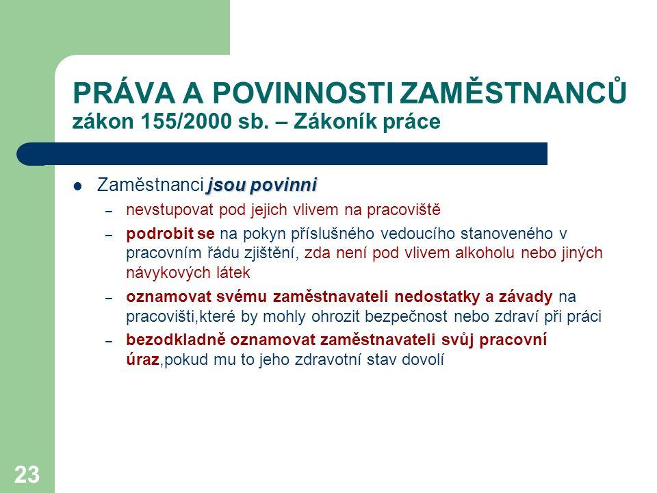 23 PRÁVA A POVINNOSTI ZAMĚSTNANCŮ zákon 155/2000 sb.