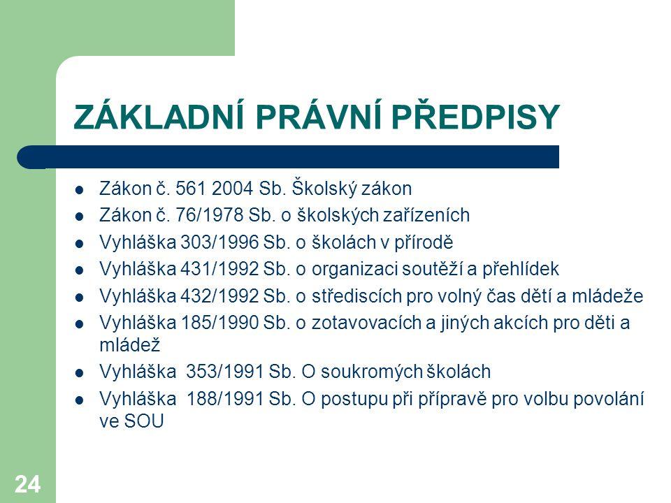 24 ZÁKLADNÍ PRÁVNÍ PŘEDPISY Zákon č.561 2004 Sb. Školský zákon Zákon č.