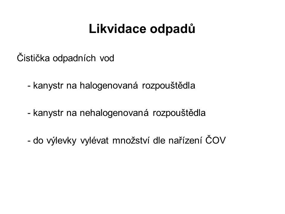 Likvidace odpadů Čistička odpadních vod - kanystr na halogenovaná rozpouštědla - kanystr na nehalogenovaná rozpouštědla - do výlevky vylévat množství dle nařízení ČOV