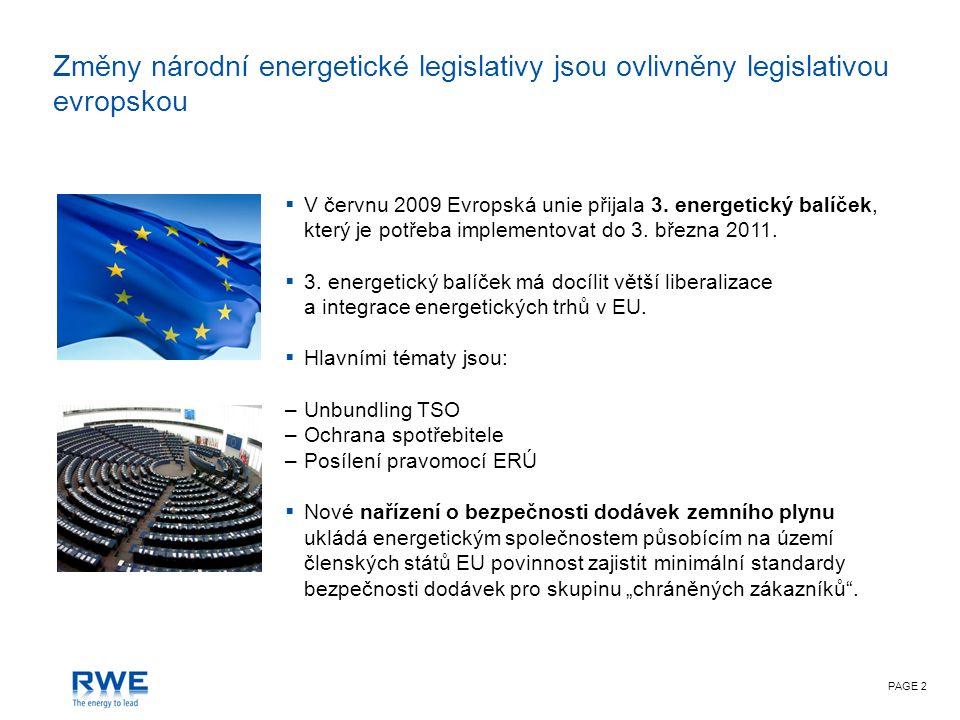 PAGE 2 Změny národní energetické legislativy jsou ovlivněny legislativou evropskou  V červnu 2009 Evropská unie přijala 3.