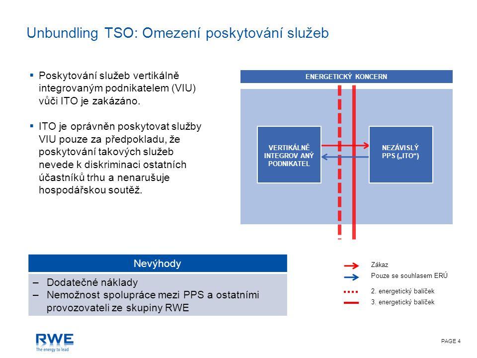 PAGE 4 Unbundling TSO: Omezení poskytování služeb Nevýhody –Dodatečné náklady –Nemožnost spolupráce mezi PPS a ostatními provozovateli ze skupiny RWE  Poskytování služeb vertikálně integrovaným podnikatelem (VIU) vůči ITO je zakázáno.