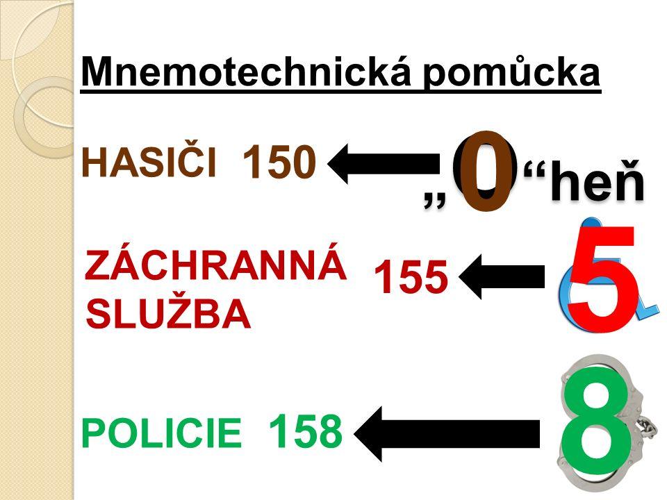 """HASIČI 150 """" O heň ZÁCHRANNÁ SLUŽBA 155 POLICIE 158 Mnemotechnická pomůcka 0 5 8"""