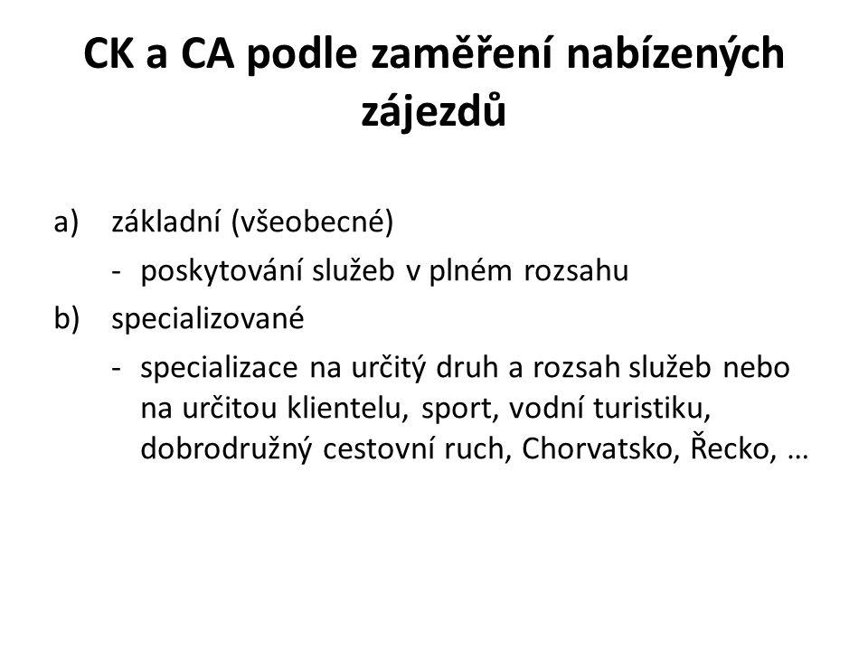CK a CA podle zaměření nabízených zájezdů a)základní (všeobecné) -poskytování služeb v plném rozsahu b)specializované -specializace na určitý druh a rozsah služeb nebo na určitou klientelu, sport, vodní turistiku, dobrodružný cestovní ruch, Chorvatsko, Řecko, …
