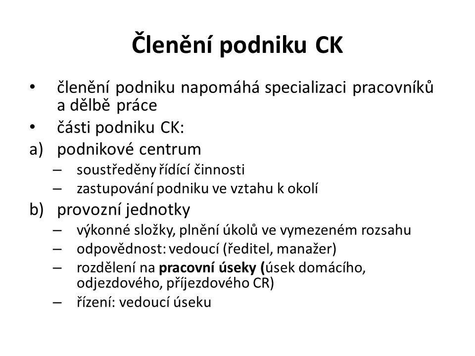 Členění podniku CK členění podniku napomáhá specializaci pracovníků a dělbě práce části podniku CK: a)podnikové centrum – soustředěny řídící činnosti
