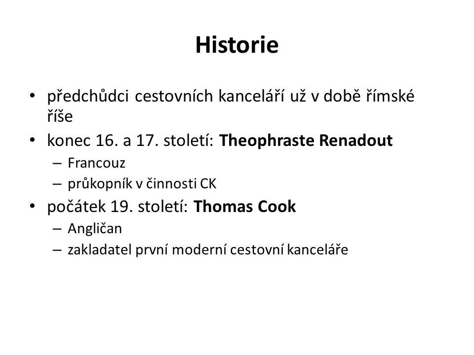 Historie předchůdci cestovních kanceláří už v době římské říše konec 16. a 17. století: Theophraste Renadout – Francouz – průkopník v činnosti CK počá