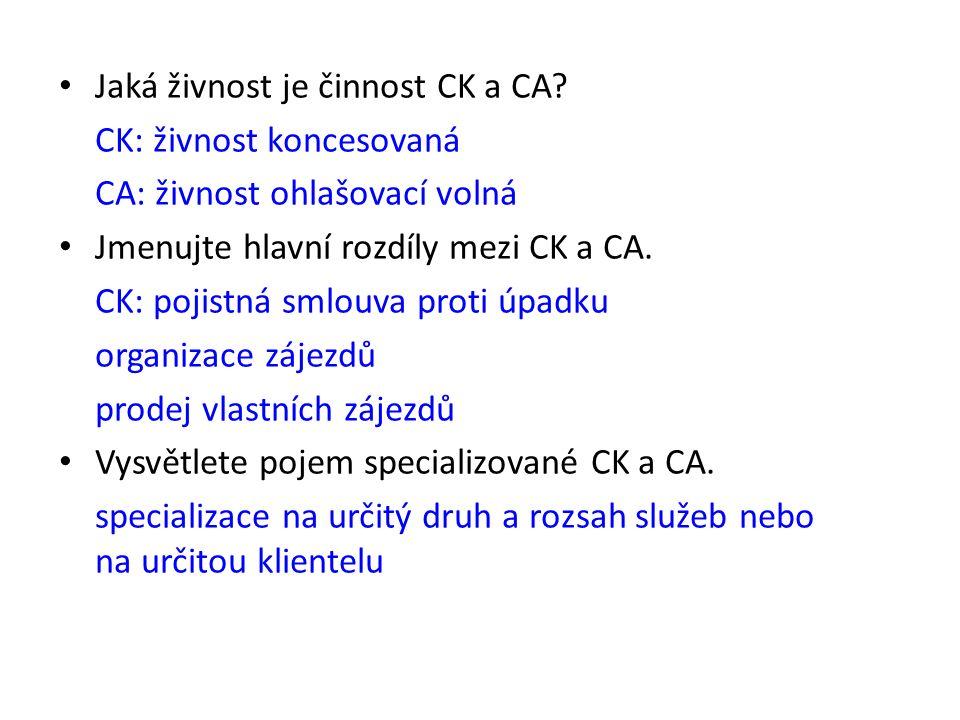 Jaká živnost je činnost CK a CA? CK: živnost koncesovaná CA: živnost ohlašovací volná Jmenujte hlavní rozdíly mezi CK a CA. CK: pojistná smlouva proti