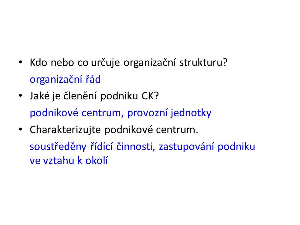 Kdo nebo co určuje organizační strukturu? organizační řád Jaké je členění podniku CK? podnikové centrum, provozní jednotky Charakterizujte podnikové c