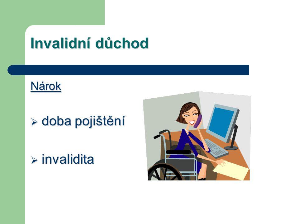 Invalidní důchod Nárok  doba pojištění  invalidita