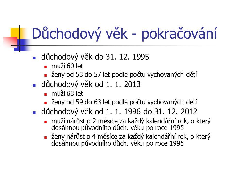 Důchodový věk - pokračování důchodový věk do 31. 12.