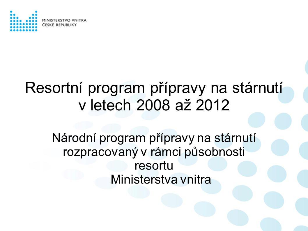 Resortní program přípravy na stárnutí v letech 2008 až 2012 Národní program přípravy na stárnutí rozpracovaný v rámci působnosti resortu Ministerstva vnitra