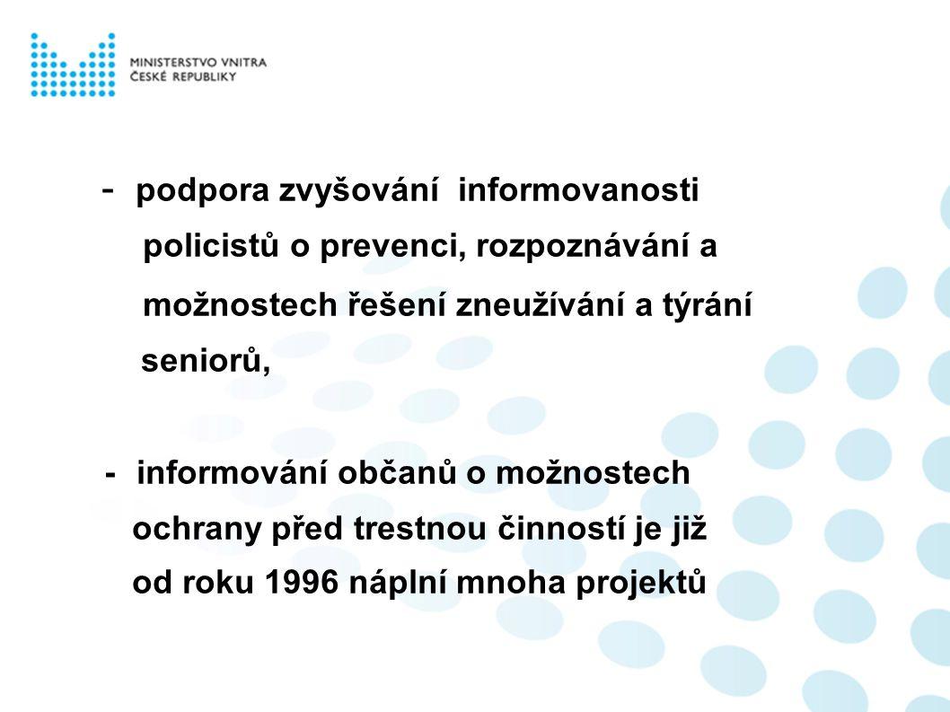 - podpora zvyšování informovanosti policistů o prevenci, rozpoznávání a možnostech řešení zneužívání a týrání seniorů, - informování občanů o možnostech ochrany před trestnou činností je již od roku 1996 náplní mnoha projektů