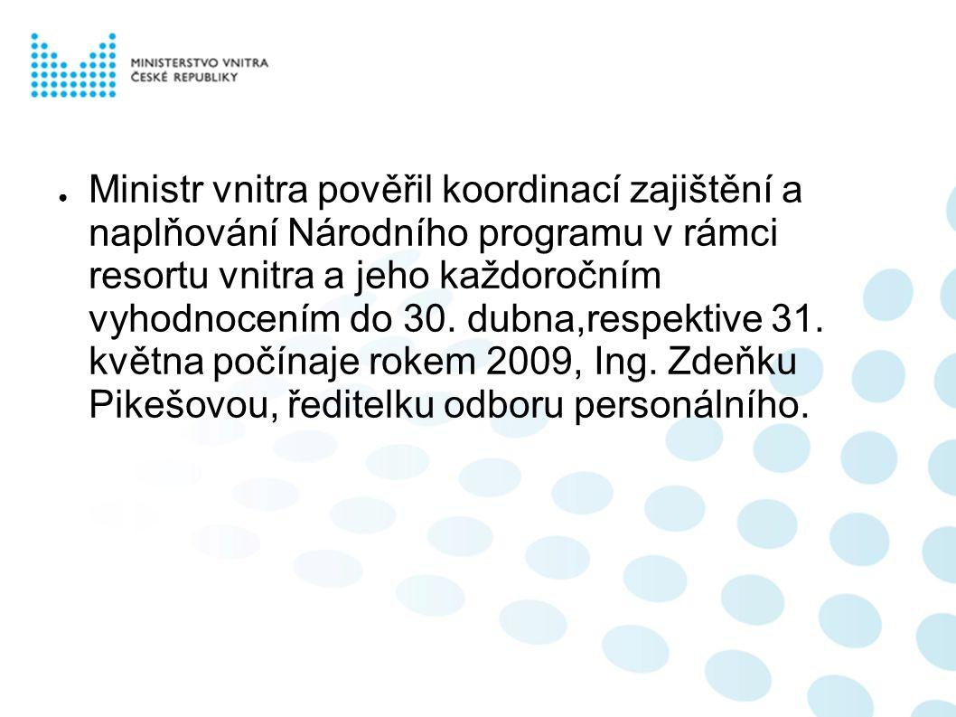● Ministr vnitra pověřil koordinací zajištění a naplňování Národního programu v rámci resortu vnitra a jeho každoročním vyhodnocením do 30.