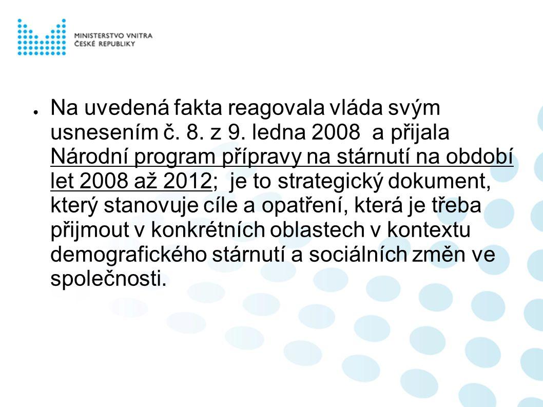 ● V letošním roce také připravuje ČSÚ ve spolupráci s resorty MV, MPSV, MZ- ÚZIS a odborníky v oboru Analytickou publikaci o stárnutí a seniorech.