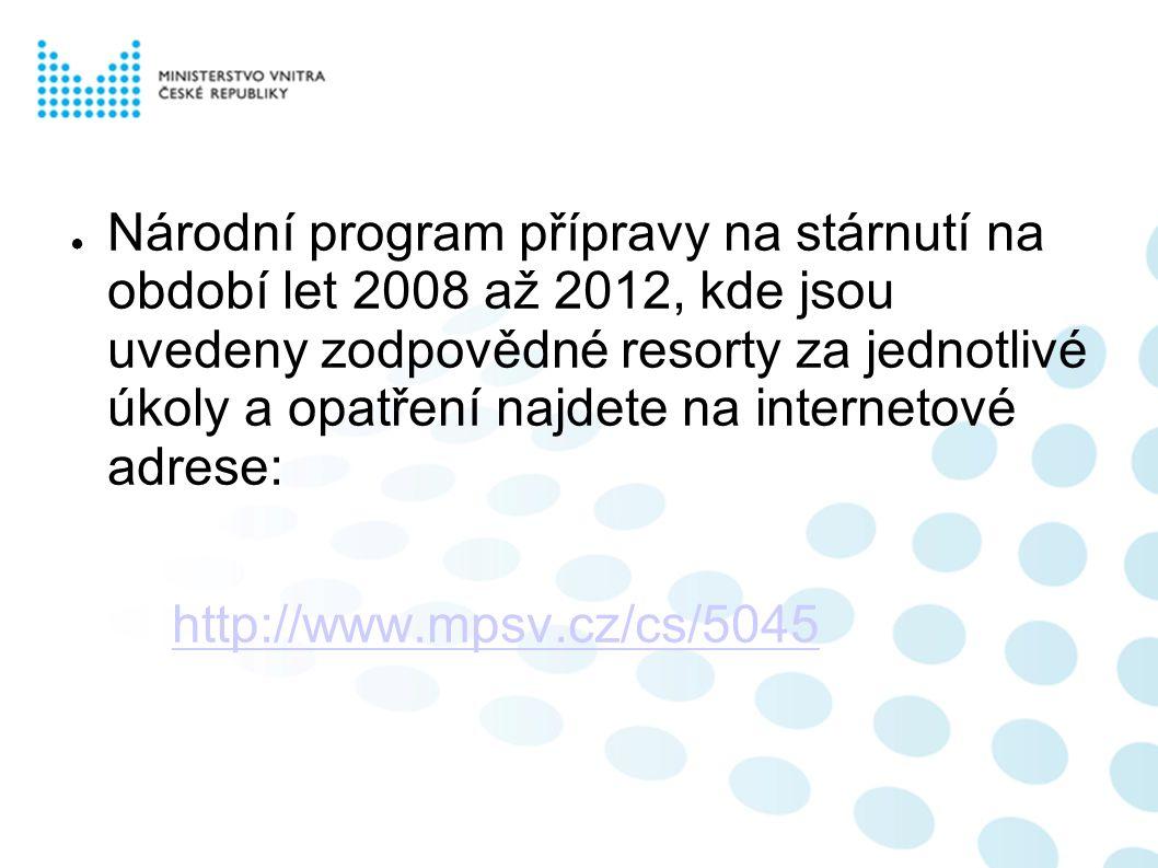 ● Národní program přípravy na stárnutí na období let 2008 až 2012, kde jsou uvedeny zodpovědné resorty za jednotlivé úkoly a opatření najdete na internetové adrese: http://www.mpsv.cz/cs/5045