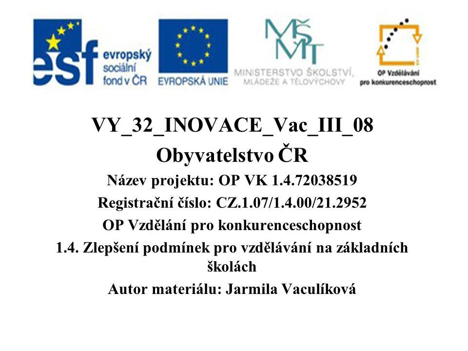 VY_32_INOVACE_Vac_III_08 Obyvatelstvo ČR Název projektu: OP VK 1.4.72038519 Registrační číslo: CZ.1.07/1.4.00/21.2952 OP Vzdělání pro konkurenceschopnost 1.4.
