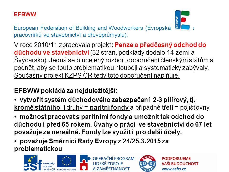 EFBWW European Federation of Building and Woodworkers (Evropská federace pracovníků ve stavebnictví a dřevoprůmyslu): V roce 2010/11 zpracovala projekt: Penze a předčasný odchod do důchodu ve stavebnictví (32 stran, podklady dodalo 14 zemí a Švýcarsko).