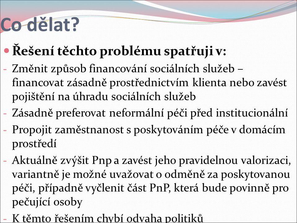 Co dělat? Řešení těchto problému spatřuji v: - Změnit způsob financování sociálních služeb – financovat zásadně prostřednictvím klienta nebo zavést po