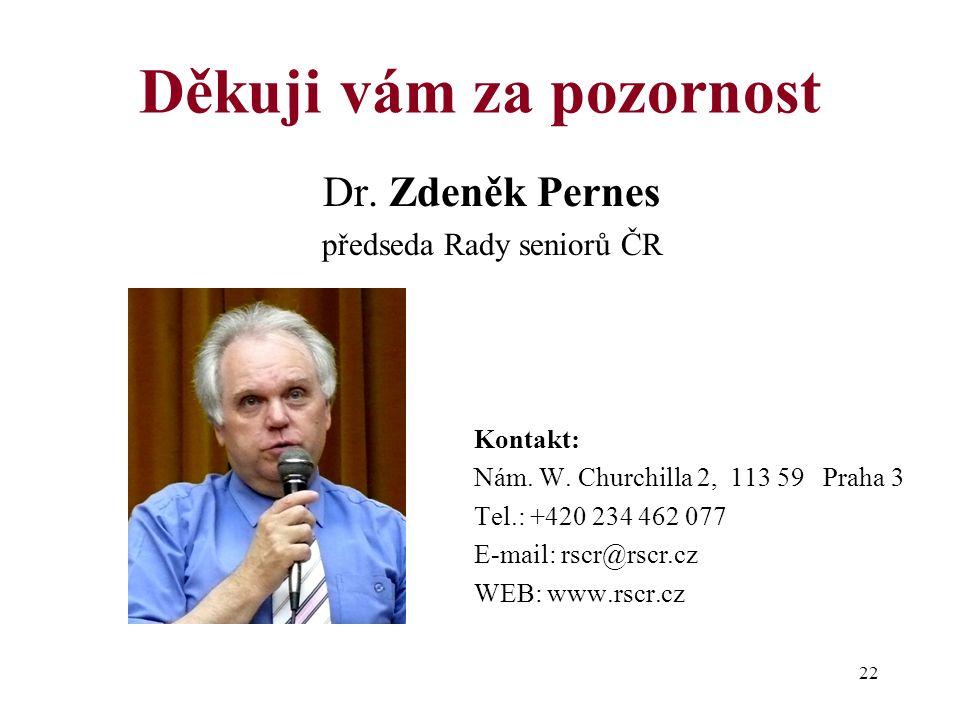 22 Děkuji vám za pozornost Dr. Zdeněk Pernes předseda Rady seniorů ČR Kontakt: Nám.