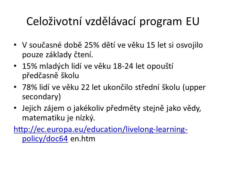 Celoživotní vzdělávací program EU V současné době 25% dětí ve věku 15 let si osvojilo pouze základy čtení. 15% mladých lidí ve věku 18-24 let opouští