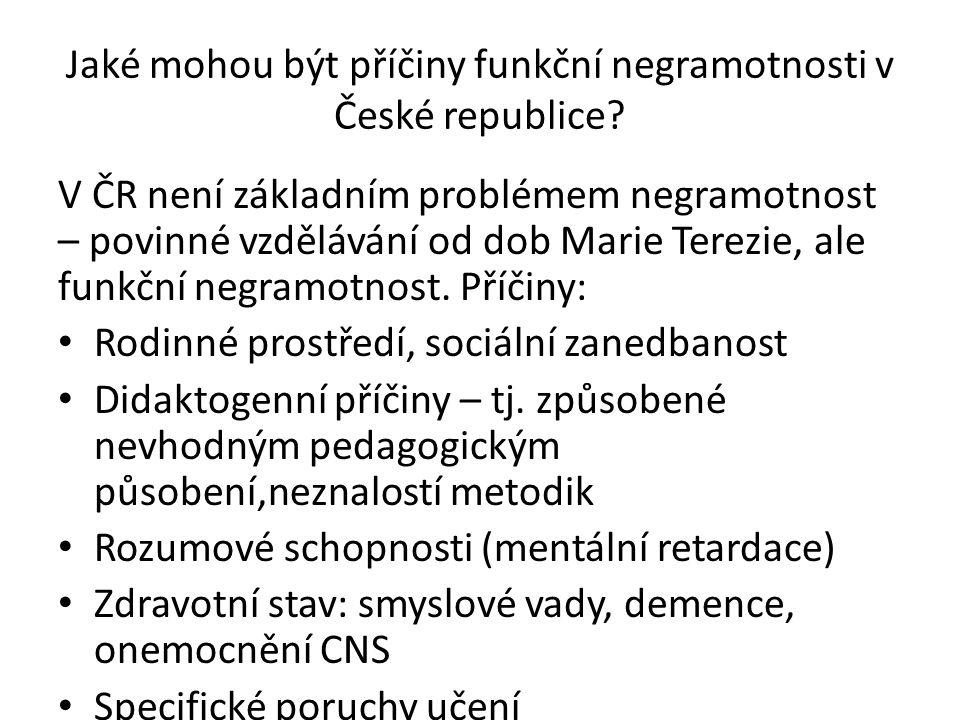 Jaké mohou být příčiny funkční negramotnosti v České republice? V ČR není základním problémem negramotnost – povinné vzdělávání od dob Marie Terezie,