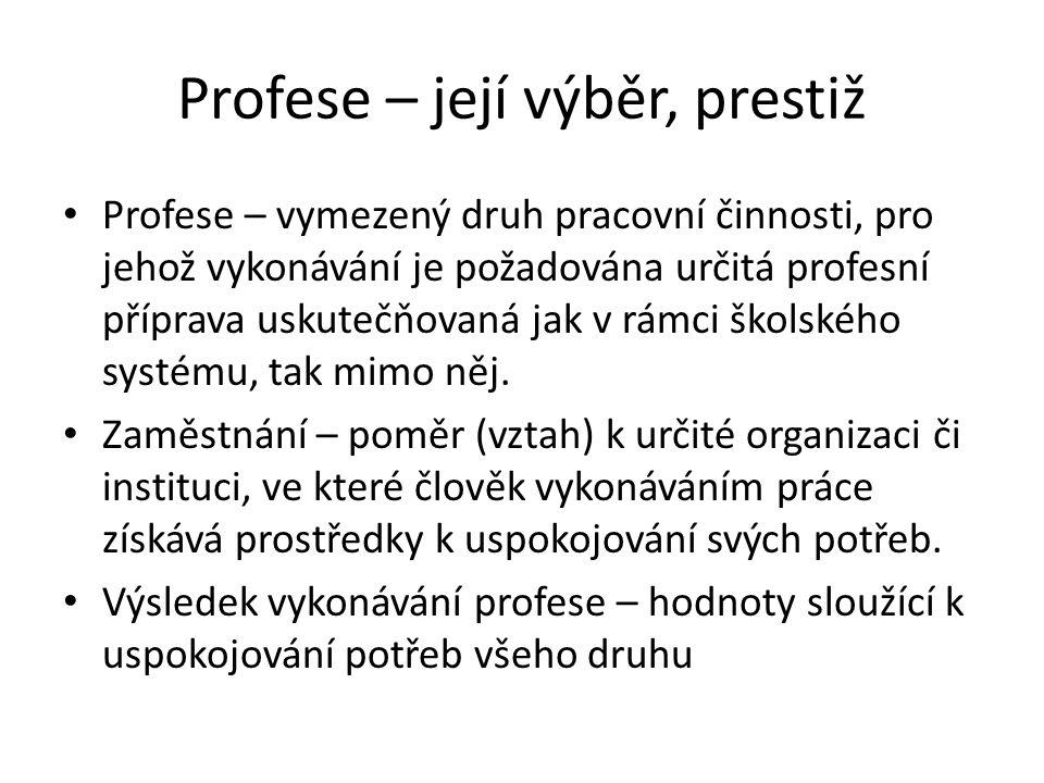 Profese – její výběr, prestiž Profese – vymezený druh pracovní činnosti, pro jehož vykonávání je požadována určitá profesní příprava uskutečňovaná jak v rámci školského systému, tak mimo něj.