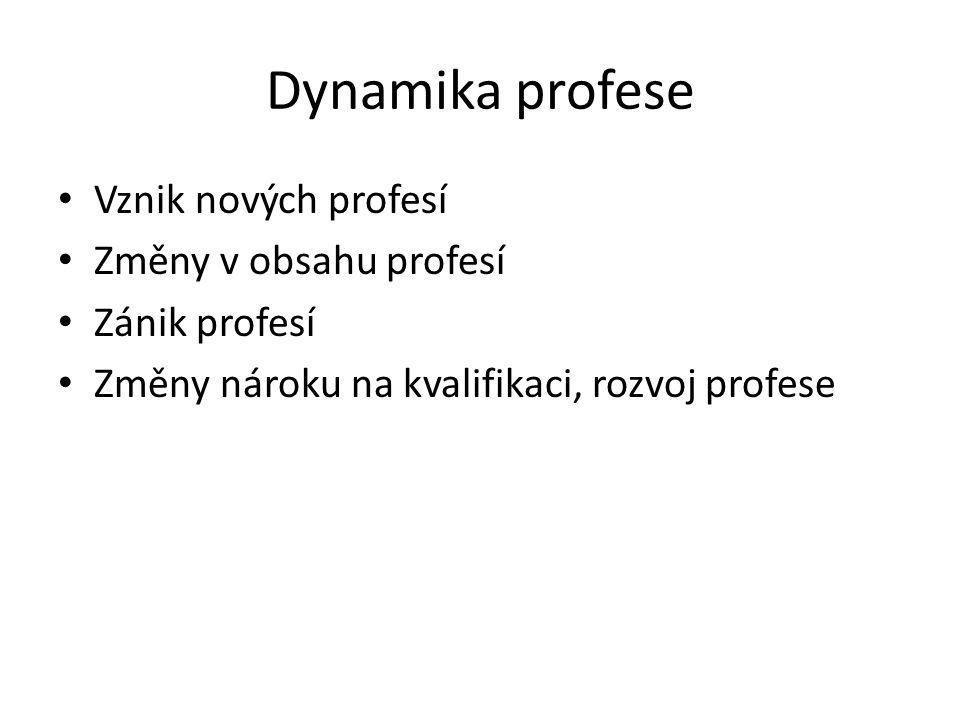 Dynamika profese Vznik nových profesí Změny v obsahu profesí Zánik profesí Změny nároku na kvalifikaci, rozvoj profese