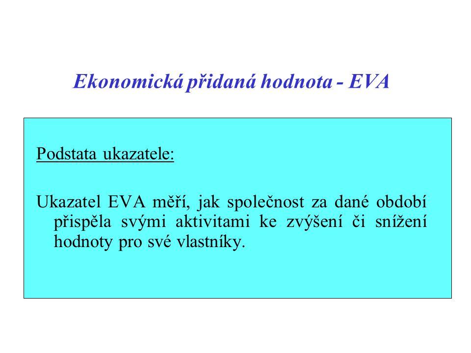 Ekonomická přidaná hodnota - EVA Podstata ukazatele: Ukazatel EVA měří, jak společnost za dané období přispěla svými aktivitami ke zvýšení či snížení hodnoty pro své vlastníky.