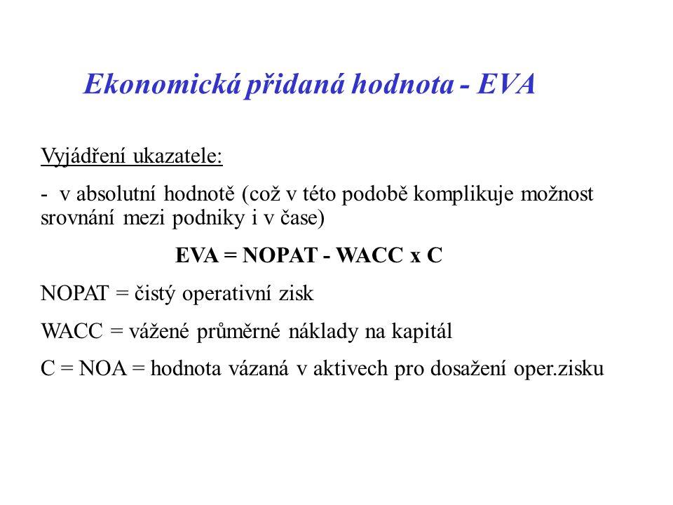 Ekonomická přidaná hodnota - EVA Vyjádření ukazatele: - v absolutní hodnotě (což v této podobě komplikuje možnost srovnání mezi podniky i v čase) EVA = NOPAT - WACC x C NOPAT = čistý operativní zisk WACC = vážené průměrné náklady na kapitál C = NOA = hodnota vázaná v aktivech pro dosažení oper.zisku