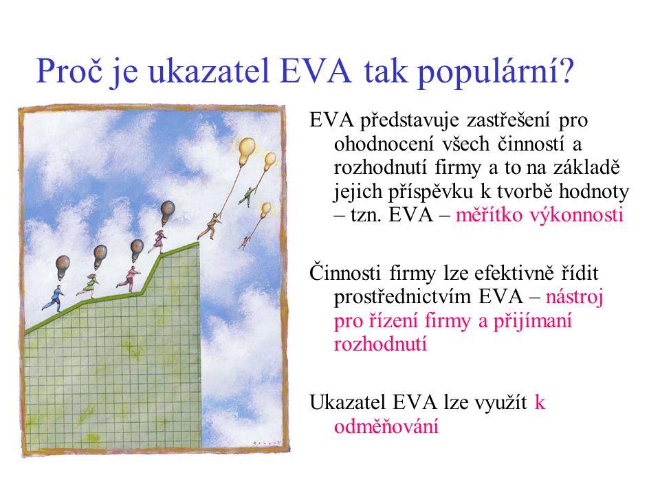 Proč je ukazatel EVA tak populární? EVA představuje zastřešení pro ohodnocení všech činností a rozhodnutí firmy a to na základě jejich příspěvku k tvo