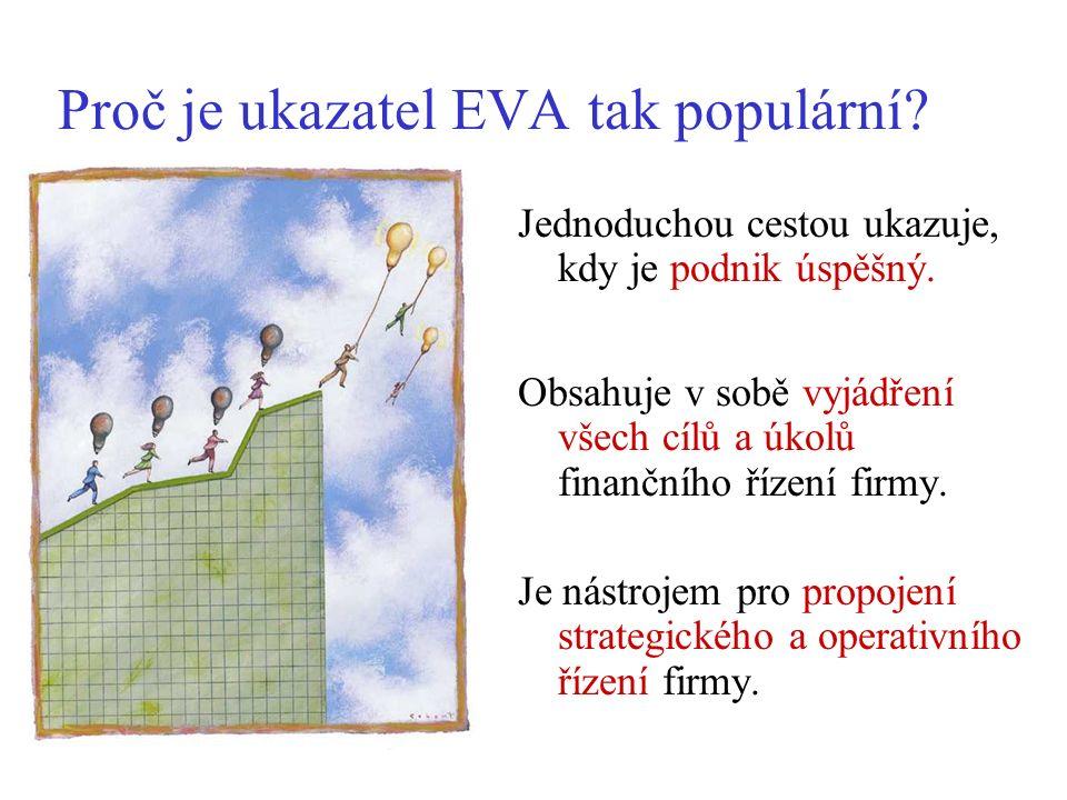 Proč je ukazatel EVA tak populární? Jednoduchou cestou ukazuje, kdy je podnik úspěšný. Obsahuje v sobě vyjádření všech cílů a úkolů finančního řízení