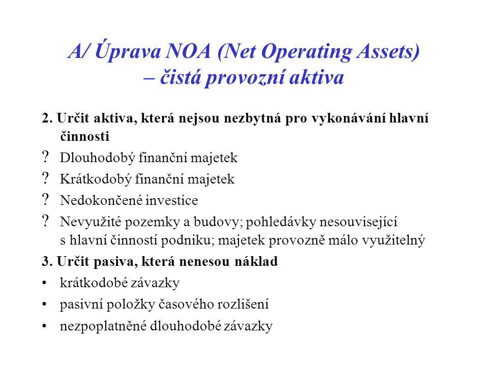 A/ Úprava NOA (Net Operating Assets) – čistá provozní aktiva 2. Určit aktiva, která nejsou nezbytná pro vykonávání hlavní činnosti ? Dlouhodobý finanč
