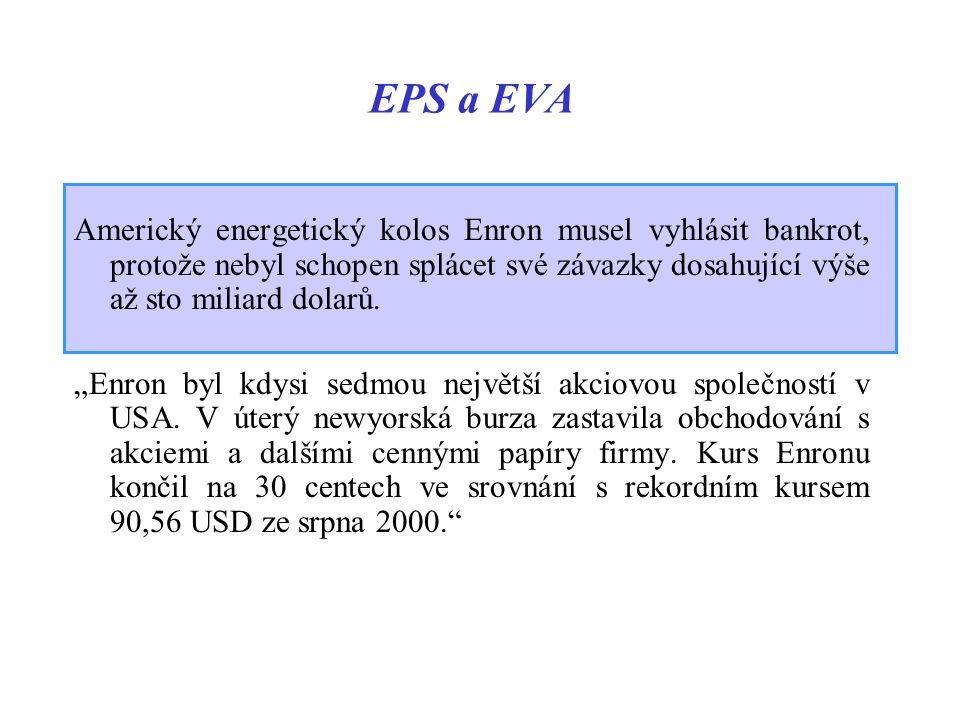 """EPS a EVA Americký energetický kolos Enron musel vyhlásit bankrot, protože nebyl schopen splácet své závazky dosahující výše až sto miliard dolarů. """"E"""