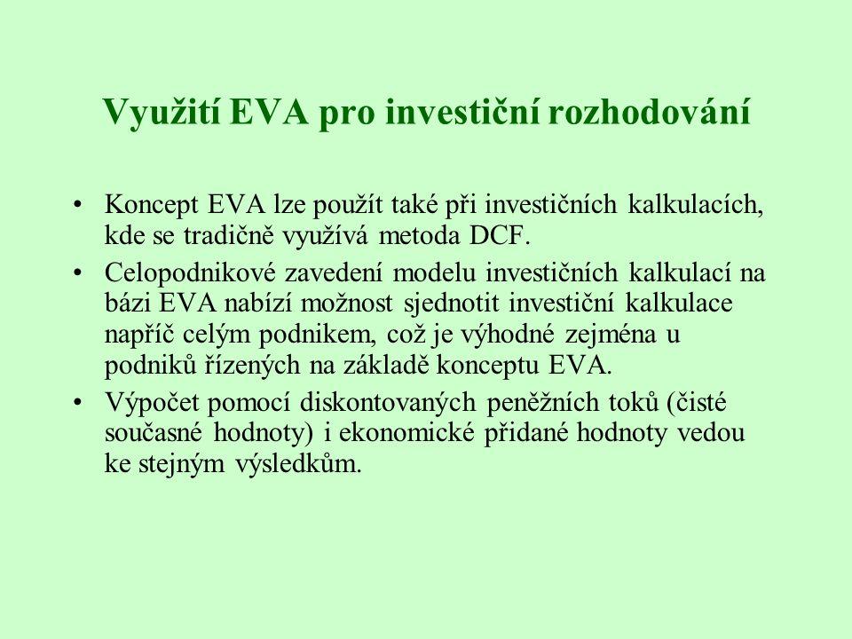 Využití EVA pro investiční rozhodování Koncept EVA lze použít také při investičních kalkulacích, kde se tradičně využívá metoda DCF. Celopodnikové zav