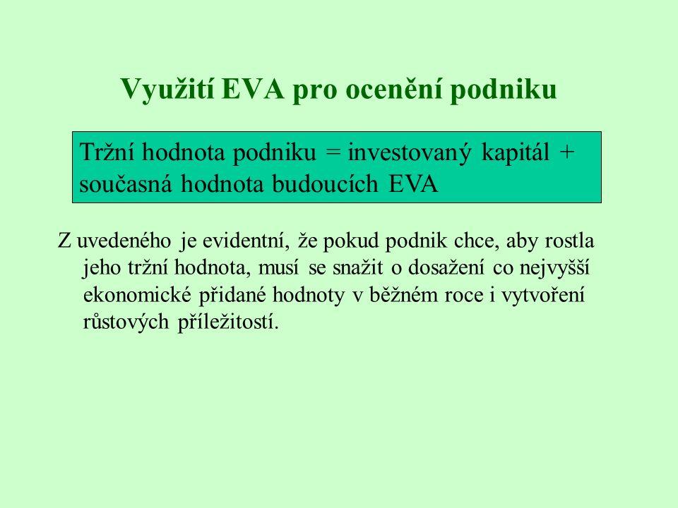 Využití EVA pro ocenění podniku Z uvedeného je evidentní, že pokud podnik chce, aby rostla jeho tržní hodnota, musí se snažit o dosažení co nejvyšší ekonomické přidané hodnoty v běžném roce i vytvoření růstových příležitostí.