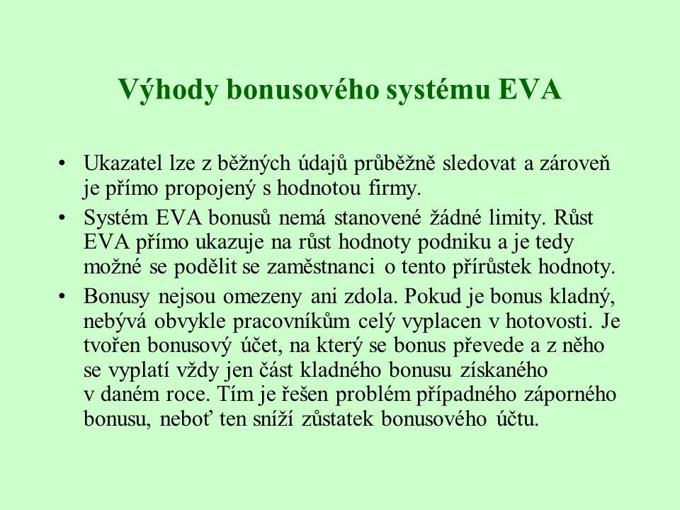 Výhody bonusového systému EVA Ukazatel lze z běžných údajů průběžně sledovat a zároveň je přímo propojený s hodnotou firmy. Systém EVA bonusů nemá sta
