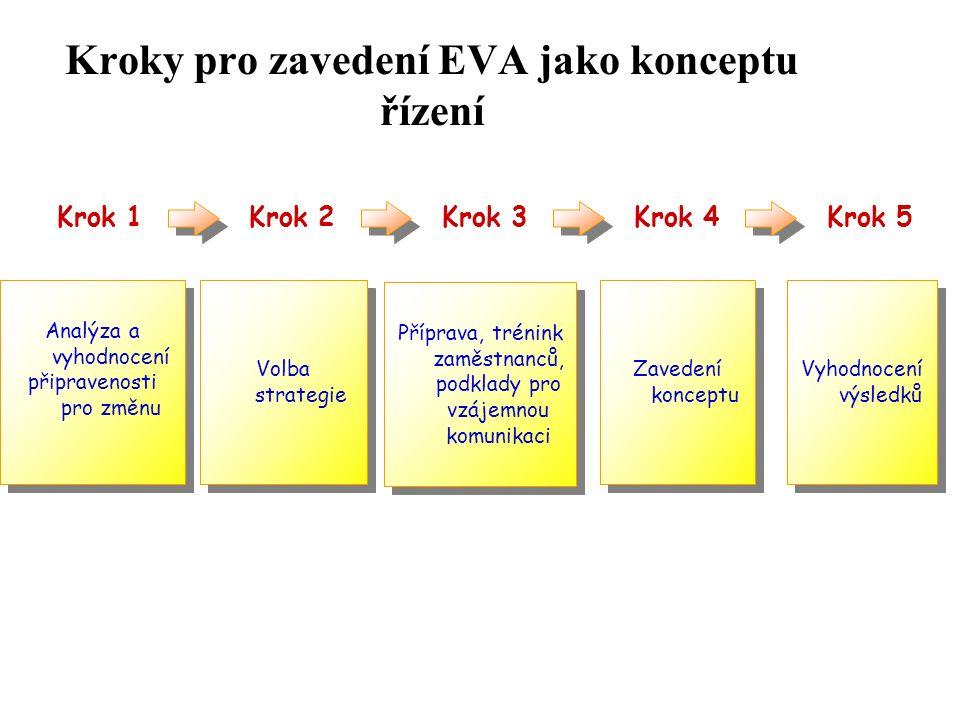 Kroky pro zavedení EVA jako konceptu řízení Analýza a vyhodnocení připravenosti pro změnu Analýza a vyhodnocení připravenosti pro změnu Volba strategie Příprava, trénink zaměstnanců, podklady pro vzájemnou komunikaci Zavedení konceptu Vyhodnocení výsledků Krok 1Krok 2Krok 3Krok 4Krok 5