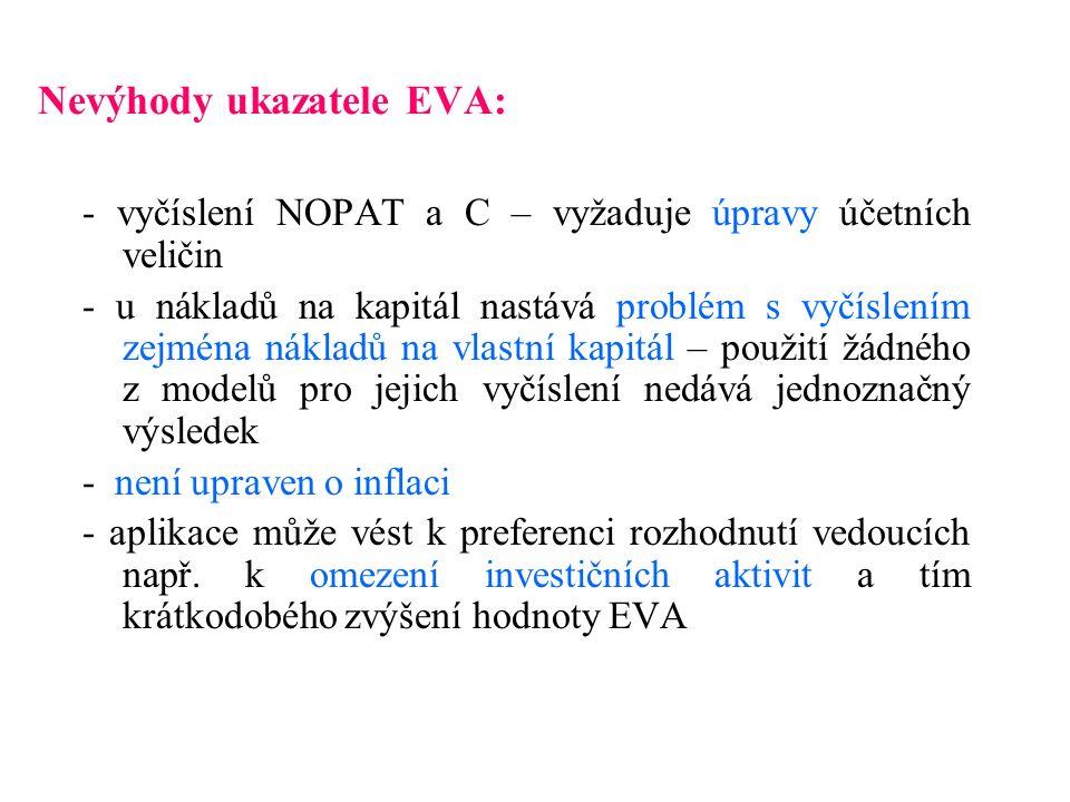 Nevýhody ukazatele EVA: - vyčíslení NOPAT a C – vyžaduje úpravy účetních veličin - u nákladů na kapitál nastává problém s vyčíslením zejména nákladů n