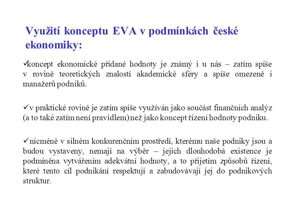 Využití konceptu EVA v podmínkách české ekonomiky: koncept ekonomické přidané hodnoty je známý i u nás – zatím spíše v rovině teoretických znalostí akademické sféry a spíše omezeně i manažerů podniků.