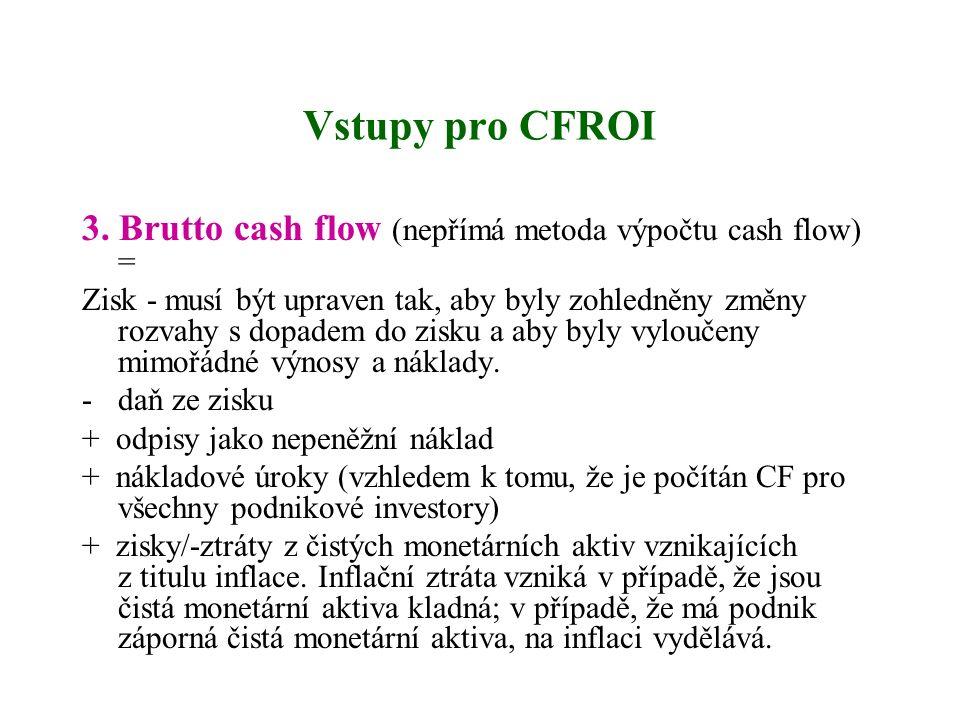 Vstupy pro CFROI 3. Brutto cash flow (nepřímá metoda výpočtu cash flow) = Zisk - musí být upraven tak, aby byly zohledněny změny rozvahy s dopadem do