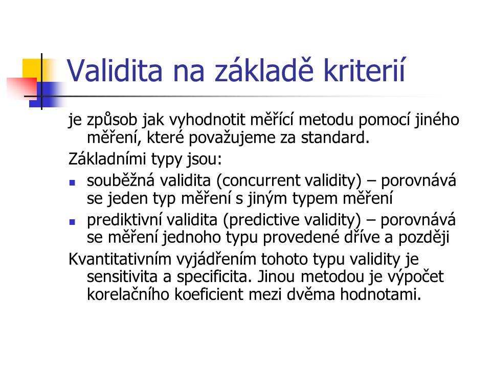 Validita na základě kriterií je způsob jak vyhodnotit měřící metodu pomocí jiného měření, které považujeme za standard. Základními typy jsou: souběžná