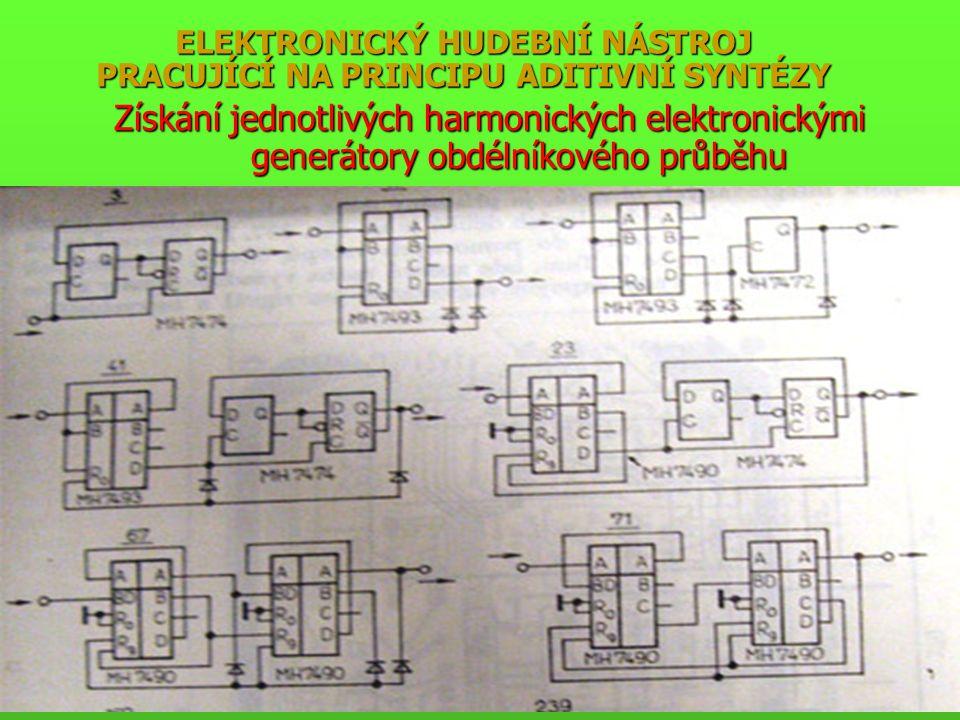 ELEKTRONICKÝ HUDEBNÍ NÁSTROJ PRACUJÍCÍ NA PRINCIPU ADITIVNÍ SYNTÉZY Získání jednotlivých harmonických elektronickými generátory obdélníkového průběhu
