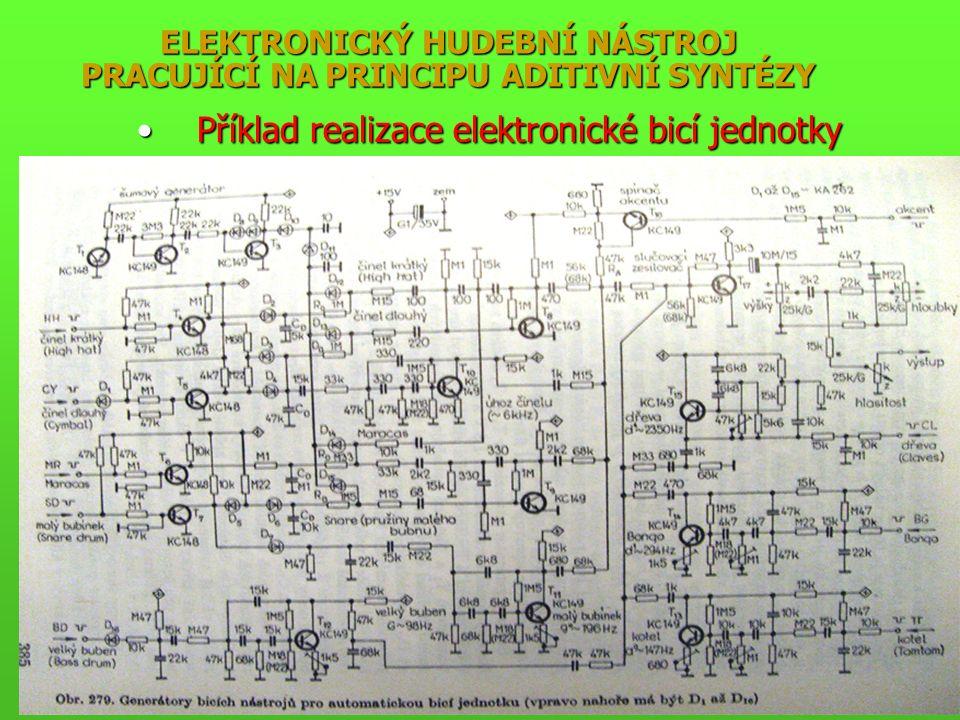ELEKTRONICKÝ HUDEBNÍ NÁSTROJ PRACUJÍCÍ NA PRINCIPU ADITIVNÍ SYNTÉZY Příklad realizace elektronické bicí jednotkyPříklad realizace elektronické bicí jednotky