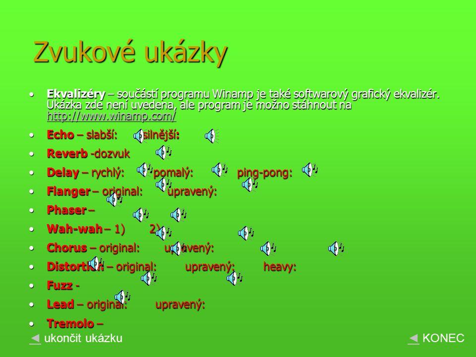 Ekvalizéry – součástí programu Winamp je také softwarový grafický ekvalizér.