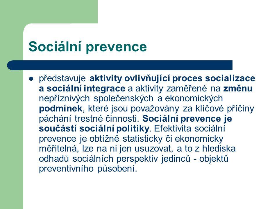 Sociální prevence představuje aktivity ovlivňující proces socializace a sociální integrace a aktivity zaměřené na změnu nepříznivých společenských a ekonomických podmínek, které jsou považovány za klíčové příčiny páchání trestné činnosti.